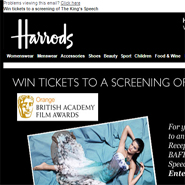 Harrods' email about The King's Speech contest