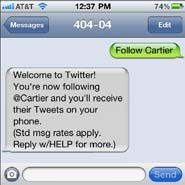 Cartier's SMS program lets consumers opt-in to get its tweets texted to their mobile device