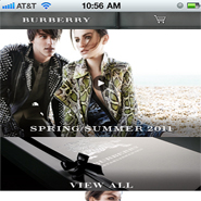 Burberry's mobile site