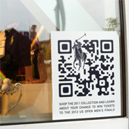 Customized QR code in the Ralph Lauren windows