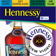 The custom-built Hennessy/Kaws mobile landing page