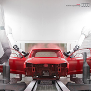 Audi's factory is fully equipped with robots