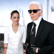 Kristen Stewart with Karl Lagerfeld at Chanel Fall 2013 Couture show