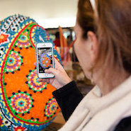 Consumer checking in during Faberge's Big Egg Hunt