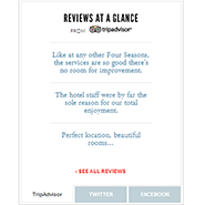 Reviews at a Glance for Four Seasons New York, provided by TripAdvisor
