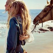 Models Caroline Trentini and Eniko Mihalik in the Chloé spring/summer '15 campaign
