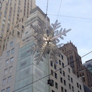 UNICEF snowflake suspended over Fifth Avenue