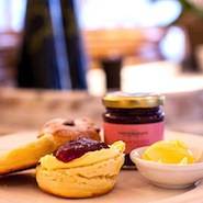A scone with jam at Fortnum's Gallery restaurant