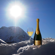 Krug Champagne chilled by snow