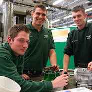 Bentley apprentices at work in the tool room