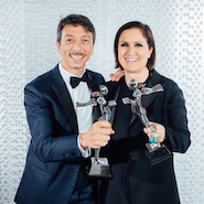 Pierpaolo Piccioli and Maria Grazia Chiuri with their CFDA awards