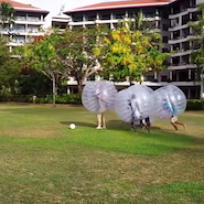 Shangri-La guests enjoy a game of Bumper Ball