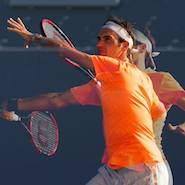 Promotional image for Mercedes-Benz contest featuring Roger Federer