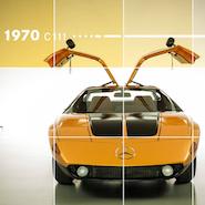 Screenshot of Mercedes-Benz's @MBUSA_A_Scroll_Through_Time Instagram account