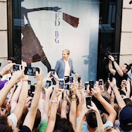 Ellen Degeneres filmed for her television show inside Bergdorf Goodman's windows