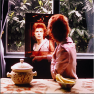 """Mick Rock's photo of David Bowie, on display at Sotheby's """"Rock Style"""" exhibition in London"""