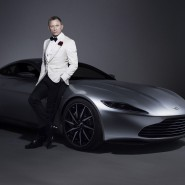 Actor Daniel Craig with Aston Martin DB10