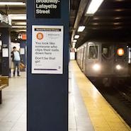 Lyst ad on a subway platform