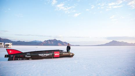 Triumph Infor Rocket Streamliner at the Bonneville Salt Flats in Utah