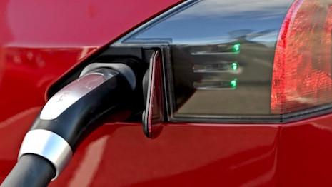 Charging port of a Tesla Model S