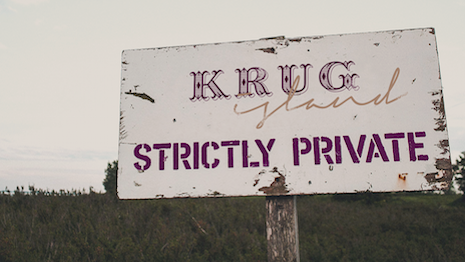 Promotional signage for Krug Island