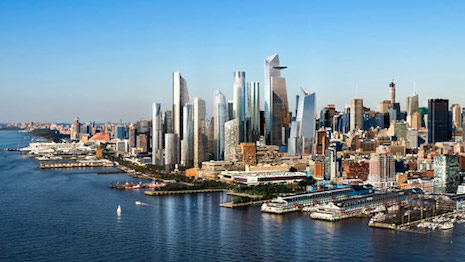 Rendering of New York skyline with Hudson Yards