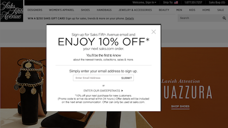 Email clicks for Saks