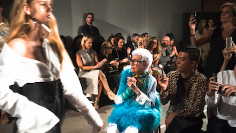 Iris Apfel during Monse's New York Fashion Week show