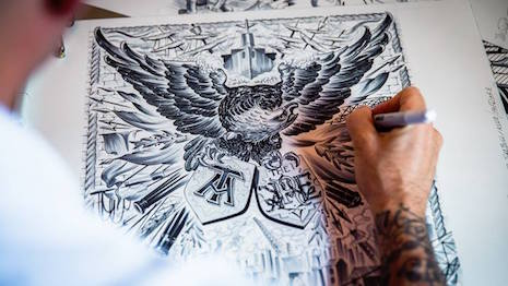 Mo Coppoletta working on the Furious Eagle print