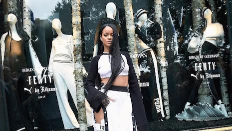 Rihanna in front of Fenty x Puma windows at Bergdorf Goodman