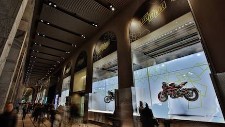 La Rinascente's window display for its Love to Ride campaign