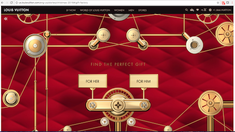 Louis Vuitton Web site homepage showcasing him and her gifts for the holiday season