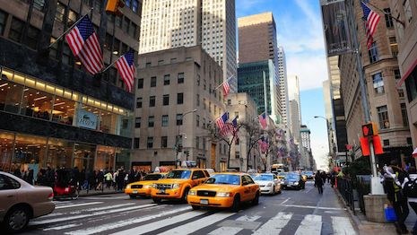 New York's Fifth Avenue near Rockefeller Center and Saks