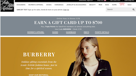 The Burberry holiday promotion on Saks' homepage. Image courtesy of Saks Fifth Avenue