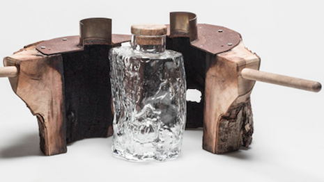 Handblown glass decanter, created from the absent core of a tree trunk