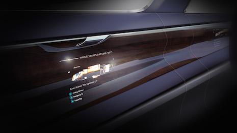 Bentley's rendering of an OLED screen on a wood veneer