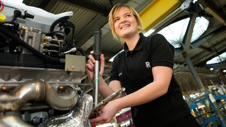 Rolls-Royce apprentice working in assembly