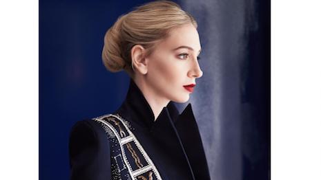Jewelry designer Sabine Getty modeling Schiaparelli's Zodiac Jacket