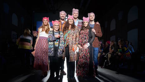 The Missoni family wearing knit pussy hats during Milan Fashion Week