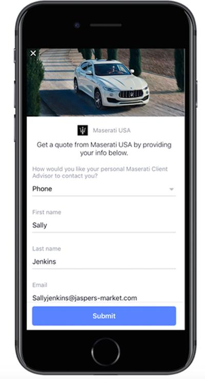 Maserati facebook ad campaign