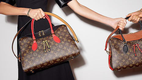 Louis Vuitton's new collection, accenting heritage Monogram canvas with colorful leather details. Credits: Louis Vuitton