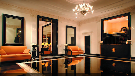 New York's Carlyle Hotel lobby with its art deco interiors and signature yellow sofas and chairs