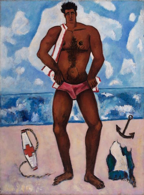 Canuck Yankee Lumberjack at Old Orchard Beach, Maine, by Marsden Hartley, 1940-41, oil on masonite-type hardboard, 401/8x30 inches. Hirshhorn Museum and Sculpture Garden, Smithsonian Institution