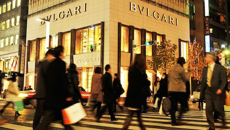 A Bulgari store in China occupies a coveted corner spot on a busy traffic intersection. Image credit: Shutterstock