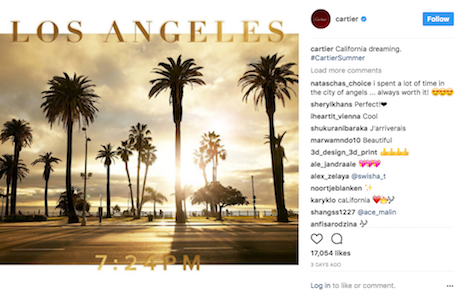 Cartier's Instagram post on California dreaming. Image credit: Cartier