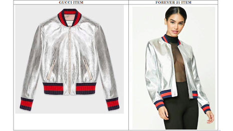 Gucci (left) claims Forever 21's designs are similar to its own, leading to a trademark dispute in the California judicial system. Image credit: Springut Law