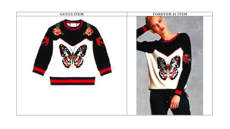 Gucci's butterfly pattern (left) on its sweater versus Forever 21's butterfly design (right). Image credit: Springut Law