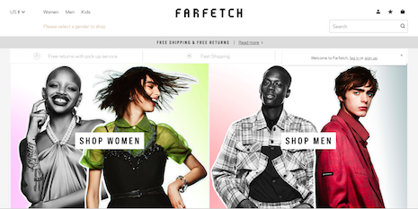 Farfetch's edge over rivals is its wide global footprint for product delivery and also the fact that it does not carry inventory. Image credit: Farfetch