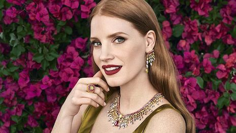 Actor Jessica Chastain modeling Piaget's high jewelry. Image credit: Piaget