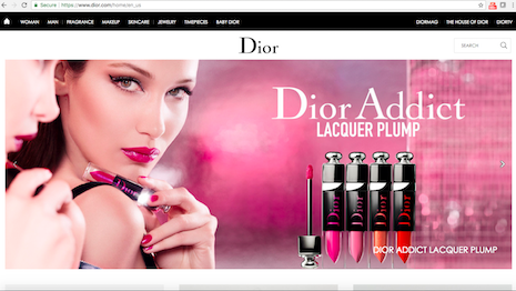 Gloss and substance: Dior U.S. homepage on desktop site. Image credit: Dior